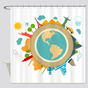 World Travel Landmarks Shower Curtain