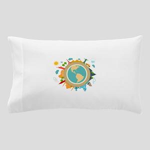 World Travel Landmarks Pillow Case