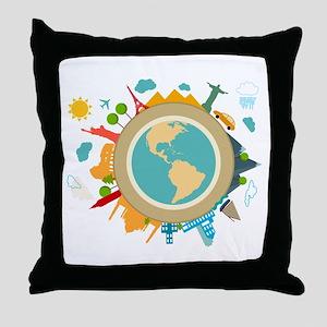 World Travel Landmarks Throw Pillow