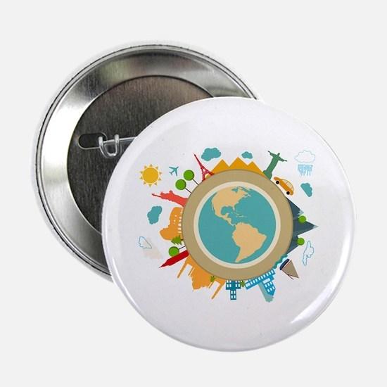 "World Travel Landmarks 2.25"" Button (10 pack)"