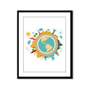 World Travel Landmarks Framed Panel Print