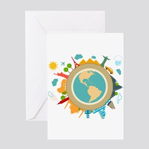 World Travel Landmarks Greeting Card