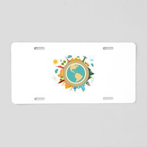 World Travel Landmarks Aluminum License Plate