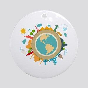 World Travel Landmarks Ornament (Round)