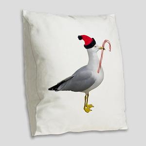 Santa Seagull Burlap Throw Pillow