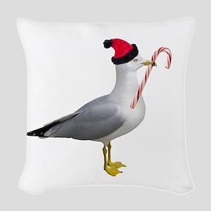Santa Seagull Woven Throw Pillow