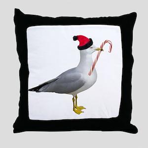 Santa Seagull Throw Pillow