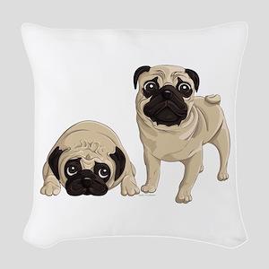 Pugs Woven Throw Pillow