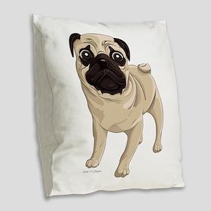 Pug Burlap Throw Pillow