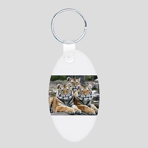 TIGERS Aluminum Oval Keychain