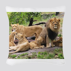LION FAMILY Woven Throw Pillow