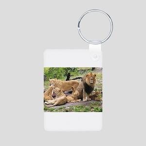 LION FAMILY Aluminum Photo Keychain
