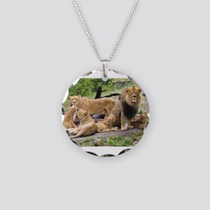 LION FAMILY Necklace Circle Charm