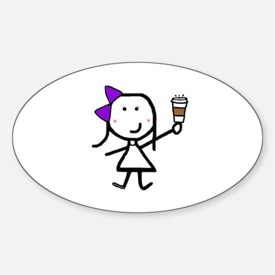 Purple Girl & Coffee Sticker (Oval)