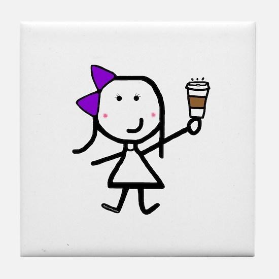 Purple Girl & Coffee Tile Coaster