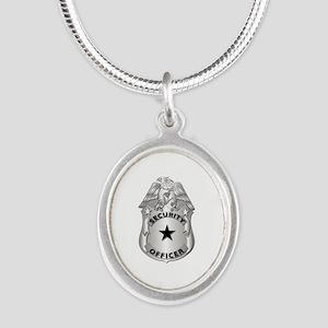 Gov - Security Officer Badge Silver Oval Necklace