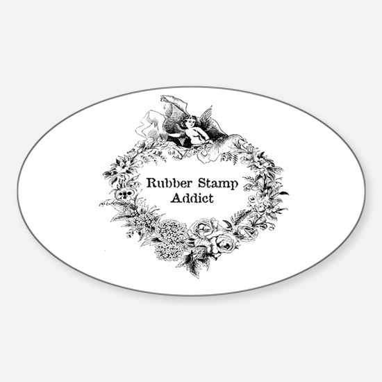 Rubber Stamp Addict Oval Decal