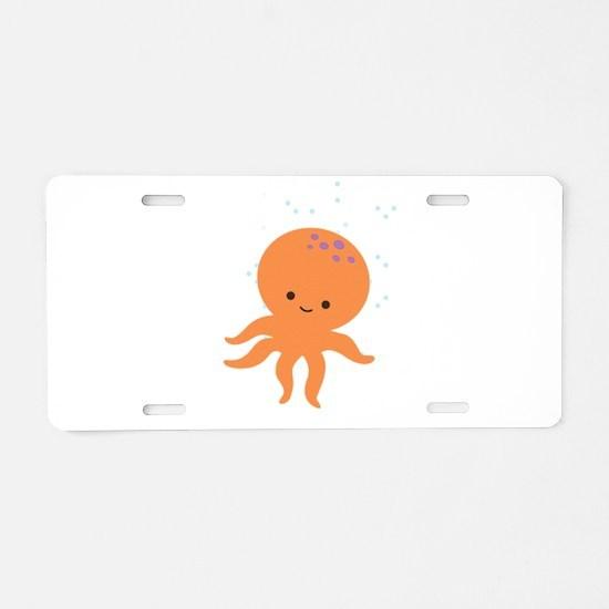 Cute Octopus Cartoon Aluminum License Plate