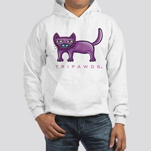 Purple Rear Leg Tripawd Cat Hooded Sweatshirt
