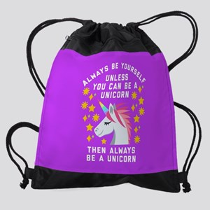 Always Be Yourself Unicorn Drawstring Bag