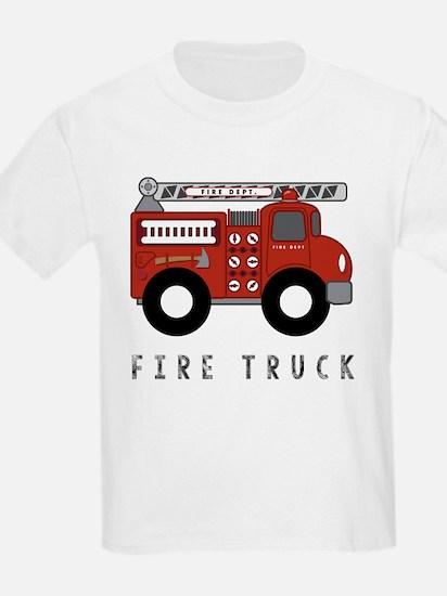 Fire Truck Kid's Design T-Shirt