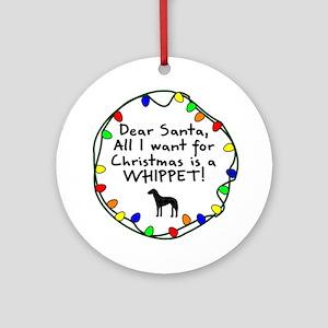Dear Santa Whippet Christmas Ornament
