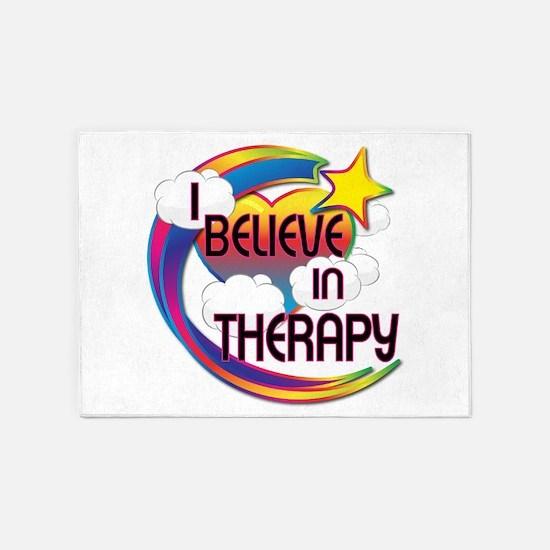 I Believe In Therapy Cute Believer Design 5'x7'Are