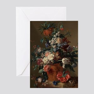Vase of Flowers by Jan van Huysum 17 Greeting Card