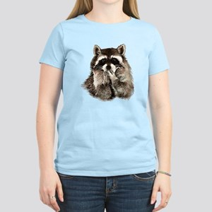 Cute Humorous Watercolor Raccoon Blowing a Kiss T-
