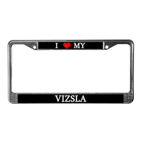 I Love My Vizsla License Plate Frame