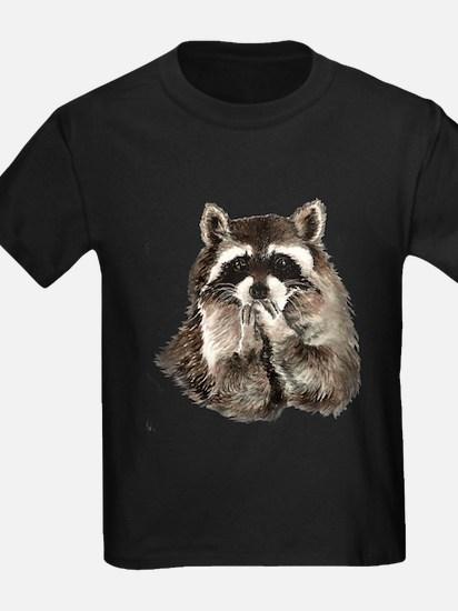 Cute Humorous Watercolor Raccoon Blowing a Kiss T-