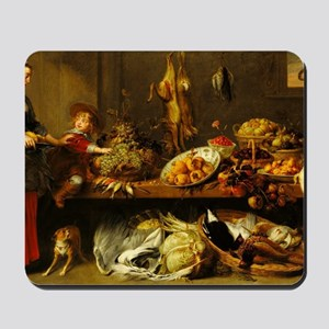Kitchen Still Life with a Maid and Young Mousepad