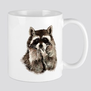 Cute Humorous Watercolor Raccoon Blowing a Kiss Mu