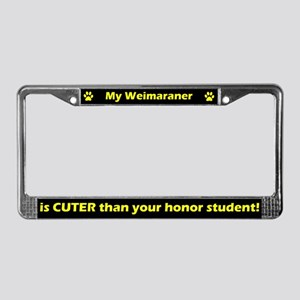 Honor Student Weimaraner License Plate Frame