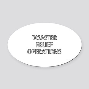 Disaster Relief Operations - White Oval Car Magnet