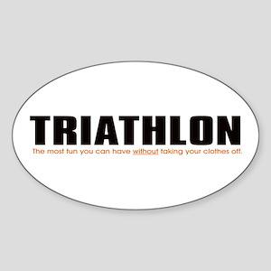 """Triathlon Fun"" Oval Sticker"