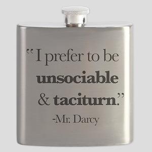 Mr Darcy I Prefer To Be Unsociable & Tacitur Flask