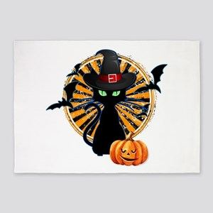 Black Cat Halloween 5'x7'Area Rug