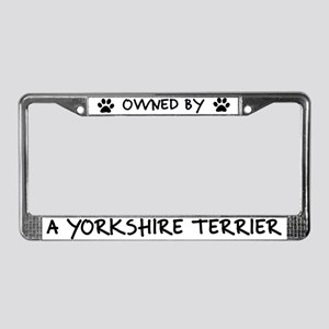 Owned by a Yorkshire Terrier License Plate Frame