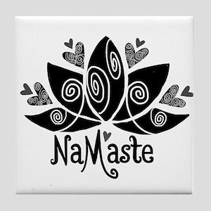 Namaste BW Lotus Tile Coaster