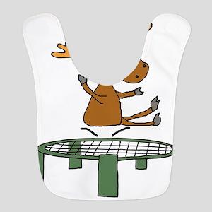 Funny Moose on Trampoline Polyester Baby Bib