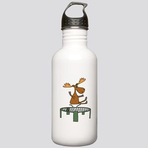 Funny Moose on Trampol Stainless Water Bottle 1.0L