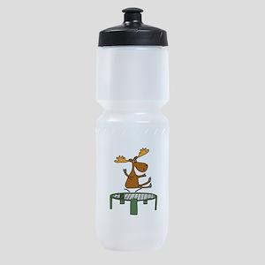 Funny Moose on Trampoline Sports Bottle
