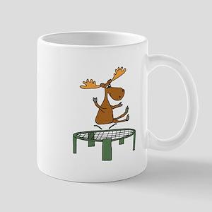 Funny Moose on Trampoline Mugs