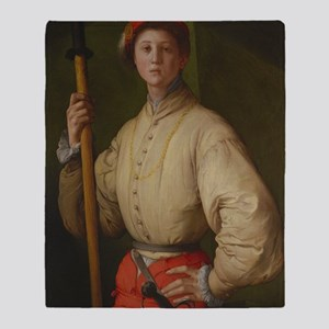 Portrait of a Halberdier by Pontormo Throw Blanket