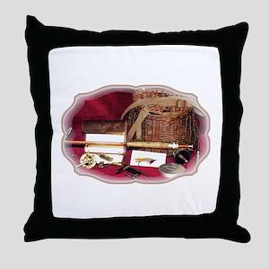 Vintage Flyfishing Throw Pillow