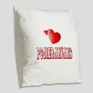 Pomeranian Love Burlap Throw Pillow