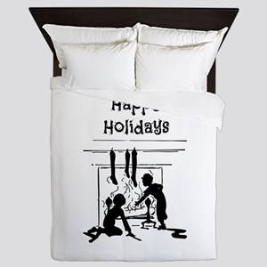 Happy Holidays Queen Duvet