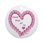 Memory Rose Heart Valentine Ornament (Round)