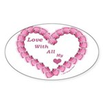 Memory Rose Heart Valentine Oval Sticker